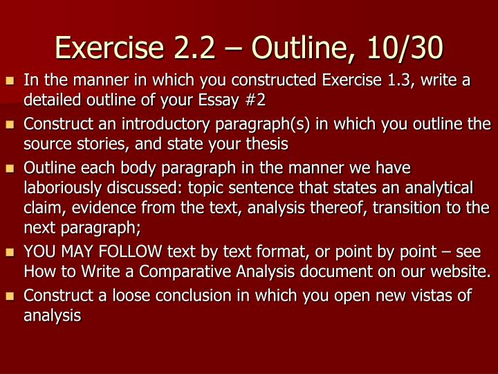 Exercise 2.2 – Outline, 10/30