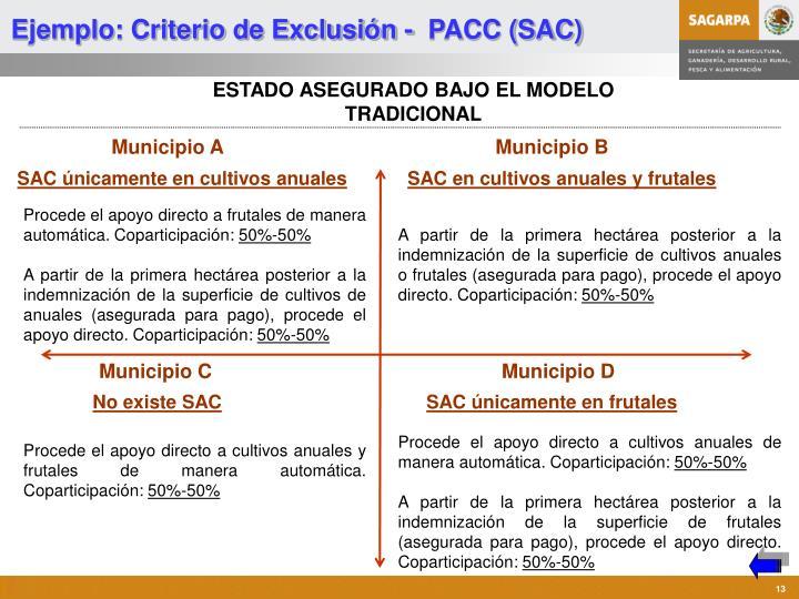 Ejemplo: Criterio de Exclusión -  PACC (SAC)