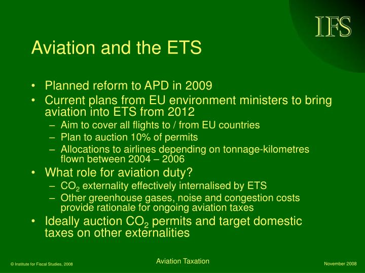 Aviation and the ETS