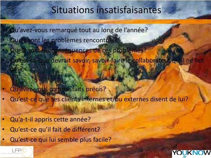 Situations insatisfaisantes