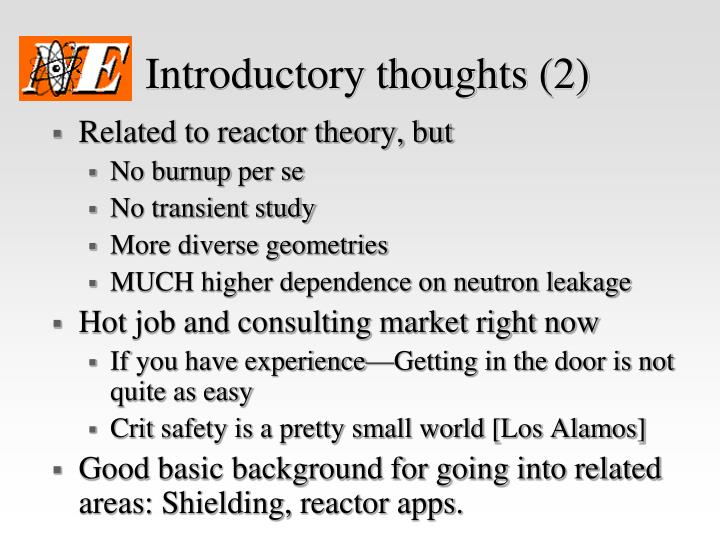 Introductory thoughts (2)