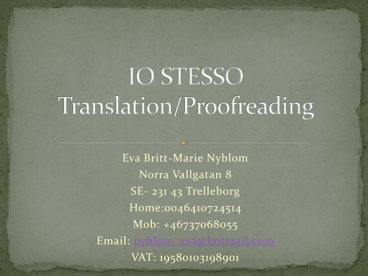 Io stesso translation proofreading