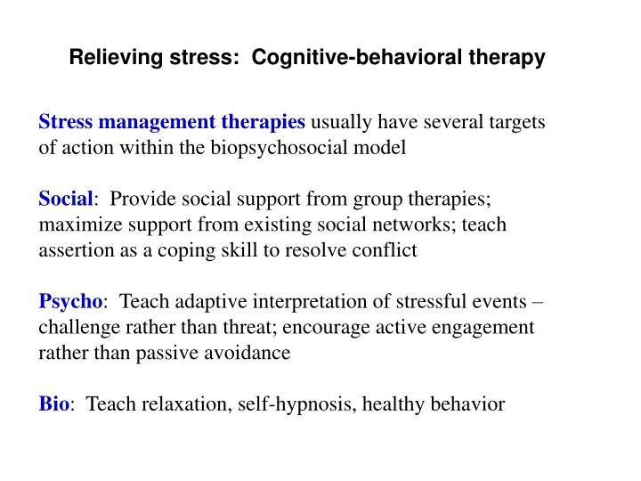 Relieving stress:  Cognitive-behavioral therapy