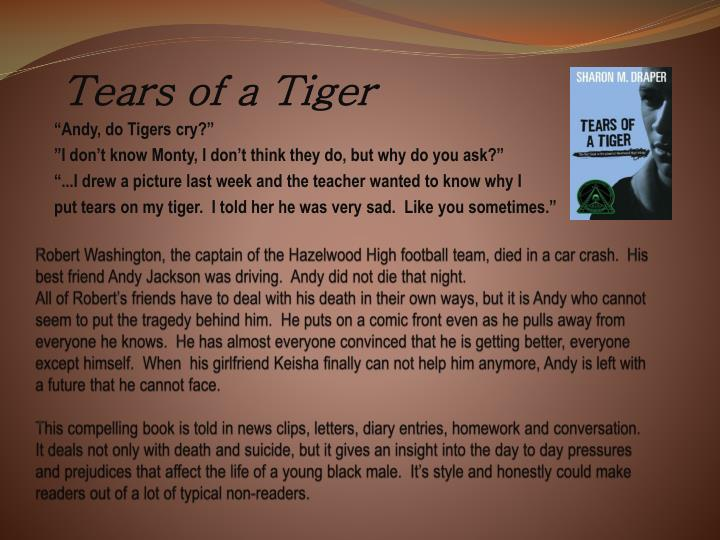a review summary of tears of a tiger User review - flag as inappropriate pages not all there very bad tears of a tiger volume 1 of hazelwood high trilogy: author: sharon m draper: edition.
