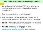 just the facts ssi disability criteria
