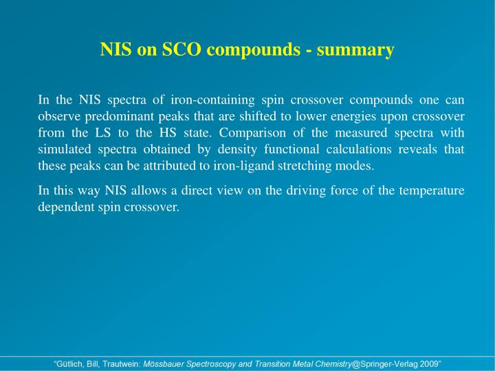 NIS on SCO compounds - summary