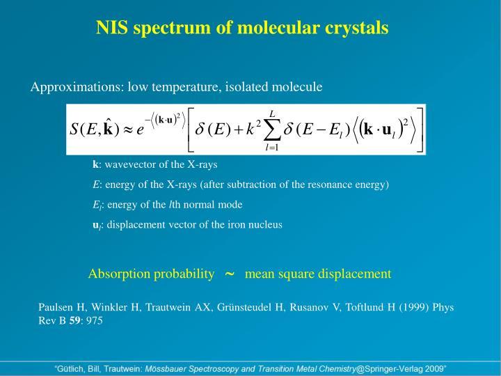 NIS spectrum of molecular crystals