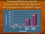 estimated pathogen specific seroconversion rate per exposure for occupational needlestick injury