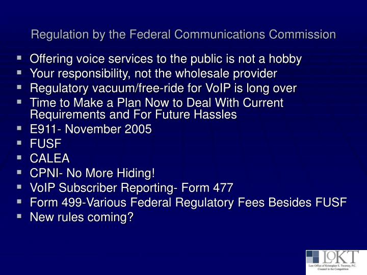 Regulation by the federal communications commission