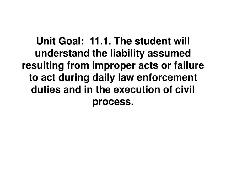 Unit Goal:  11.1. The student will understand the liability assumed resulting from improper acts or ...