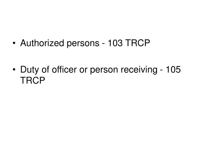 Authorized persons - 103 TRCP