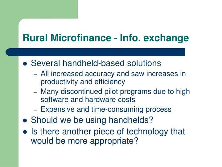 Rural Microfinance - Info. exchange