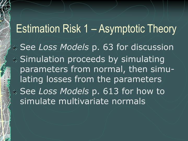 Estimation Risk 1 – Asymptotic Theory