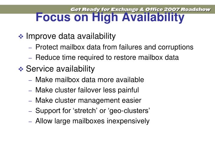 Focus on High Availability