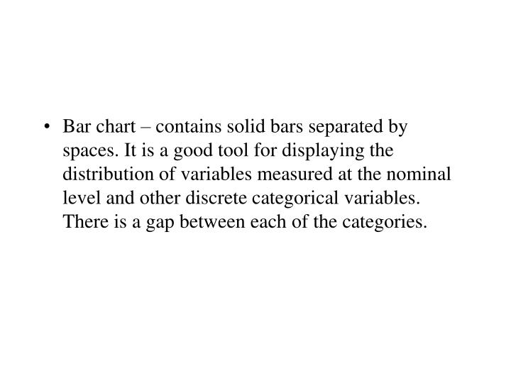 Bar chart – contains solid bars separated by spaces. It is a good tool for displaying the distribu...