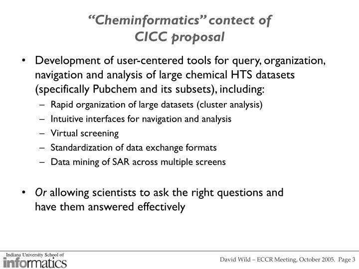 Cheminformatics contect of cicc proposal
