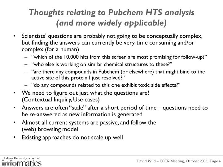 Thoughts relating to Pubchem HTS analysis