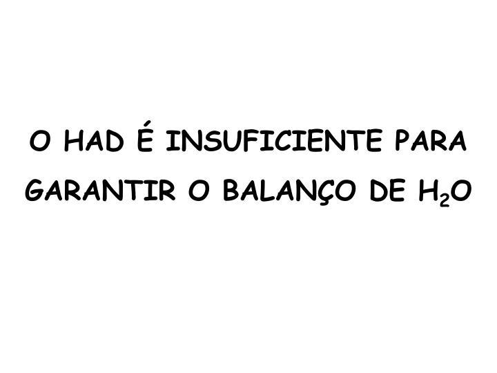 O HAD É INSUFICIENTE PARA GARANTIR O BALANÇO DE H