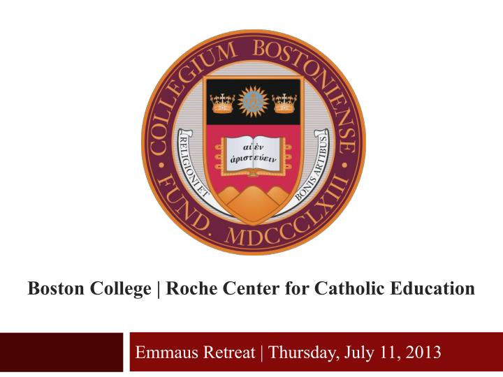 boston college roche center for catholic education n.