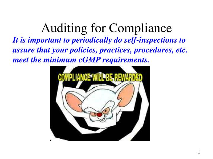 auditing for compliance n.
