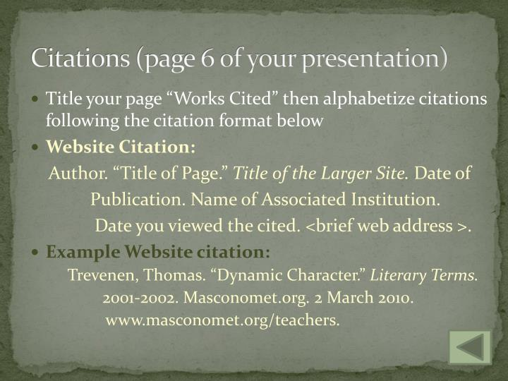 Citations (page 6 of your presentation)