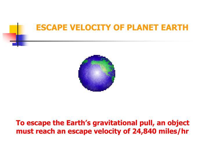 ESCAPE VELOCITY OF PLANET EARTH