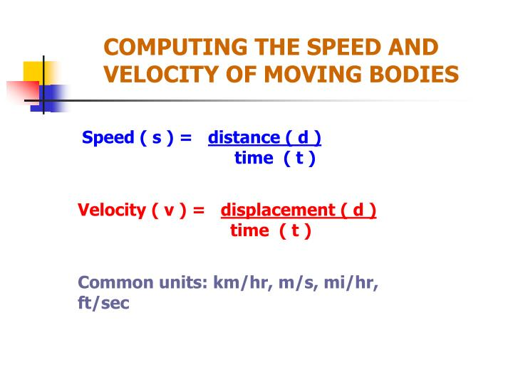 COMPUTING THE SPEED AND VELOCITY OF MOVING BODIES
