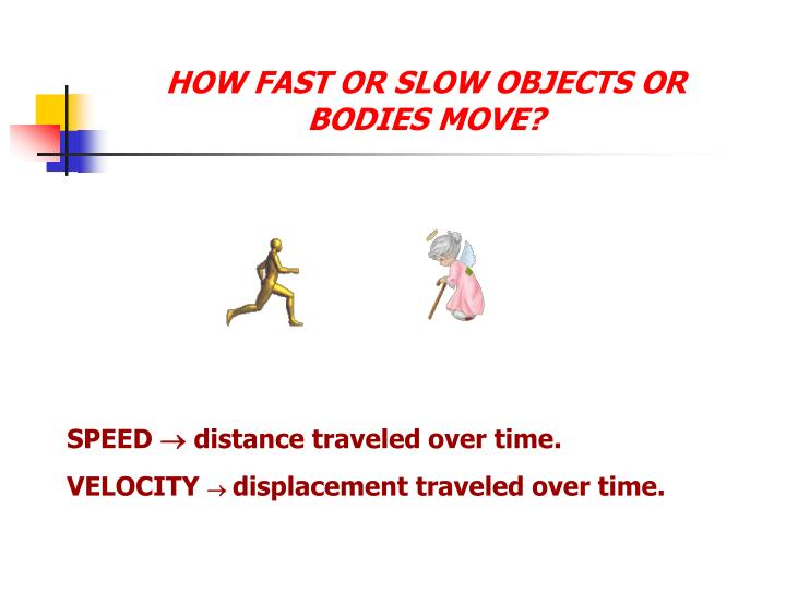 HOW FAST OR SLOW OBJECTS OR BODIES MOVE?