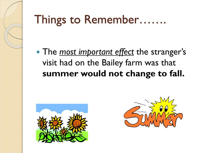 Things to Remember…….
