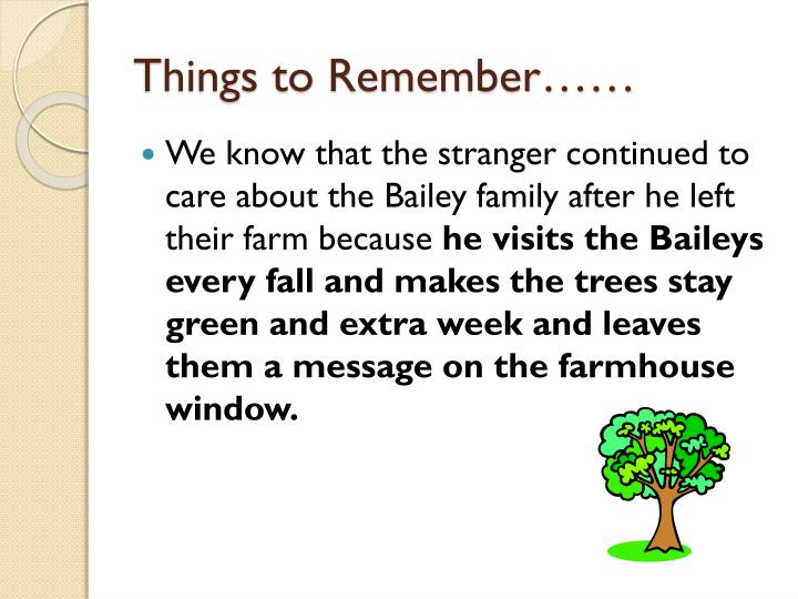 Things to Remember……