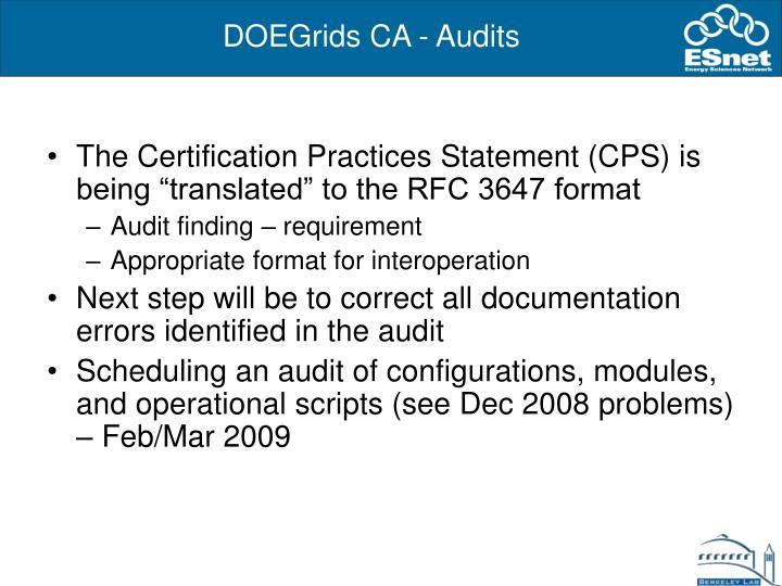 DOEGrids CA - Audits