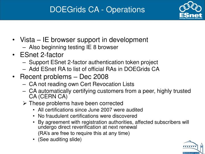 DOEGrids CA - Operations