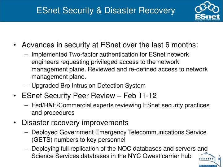 ESnet Security & Disaster Recovery