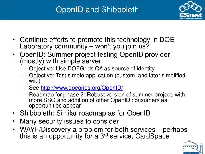 OpenID and Shibboleth
