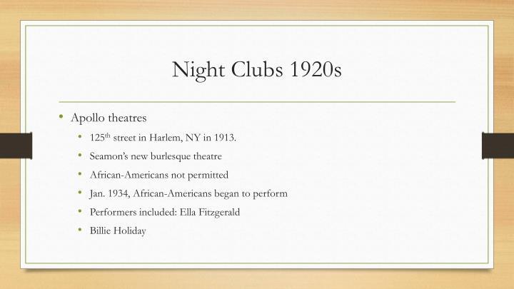 Night Clubs 1920s