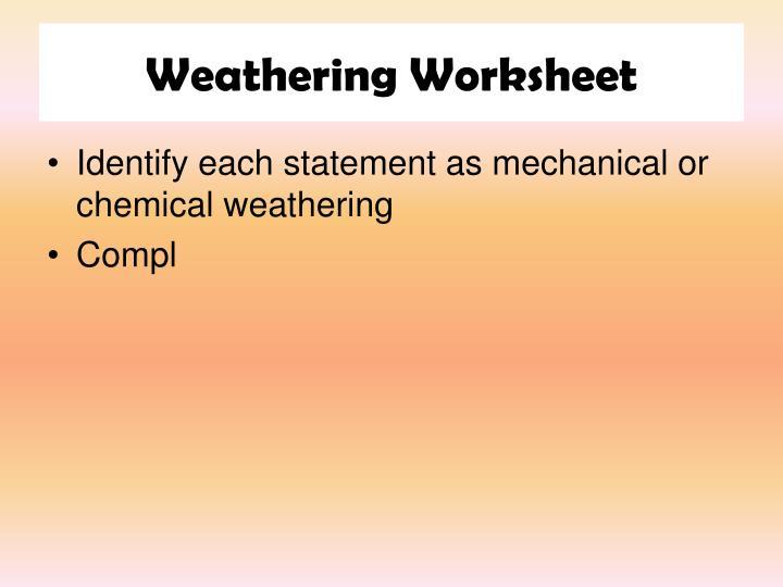 Weathering Worksheet