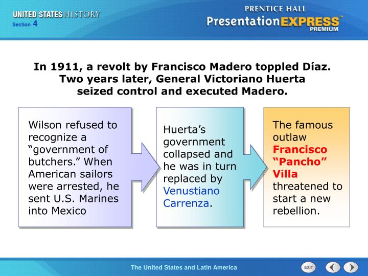 In 1911, a revolt by Francisco Madero toppled Díaz. Two years later, General Victoriano Huerta