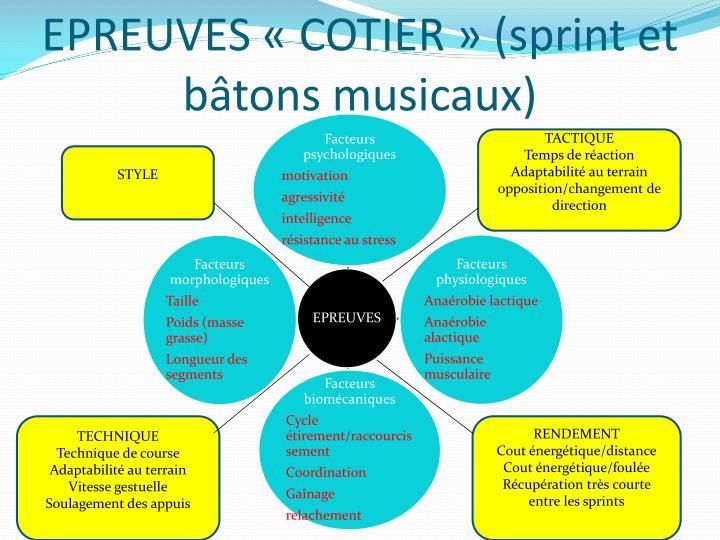 EPREUVES «COTIER» (sprint et bâtons musicaux)
