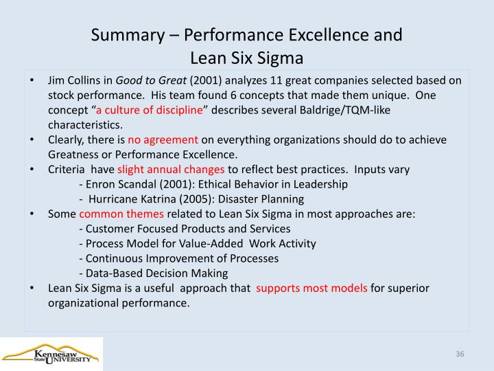 Summary – Performance Excellence and