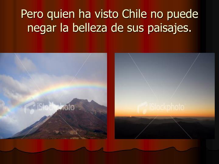 Pero quien ha visto Chile no puede negar la belleza de sus paisajes.