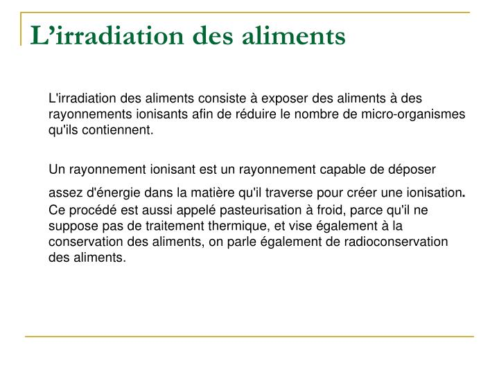 L'irradiation des aliments