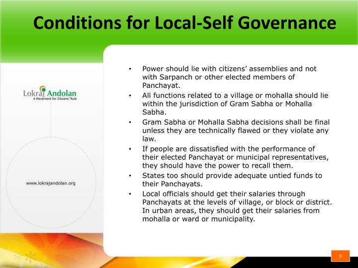 Conditions for Local-Self Governance