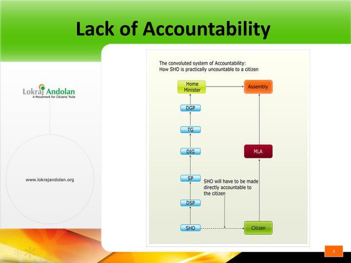 Lack of accountability