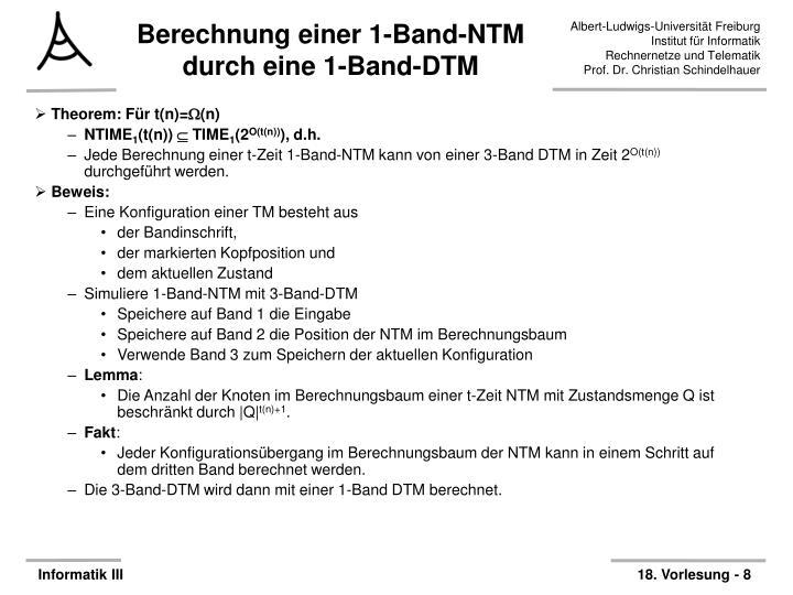 Berechnung einer 1-Band-NTM durch eine 1-Band-DTM