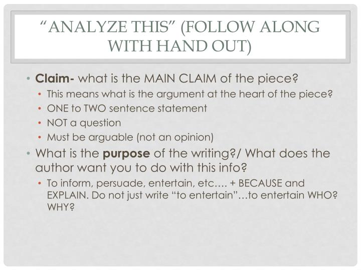 """Analyze This"" (Follow along with hand out)"