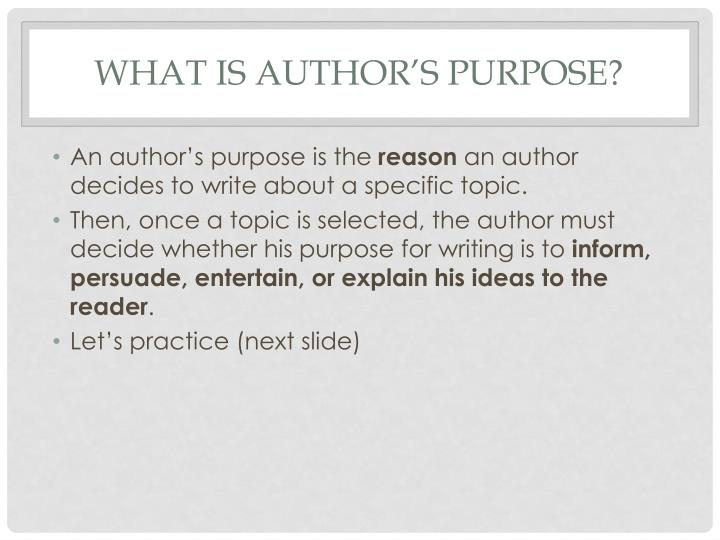 What is author s purpose