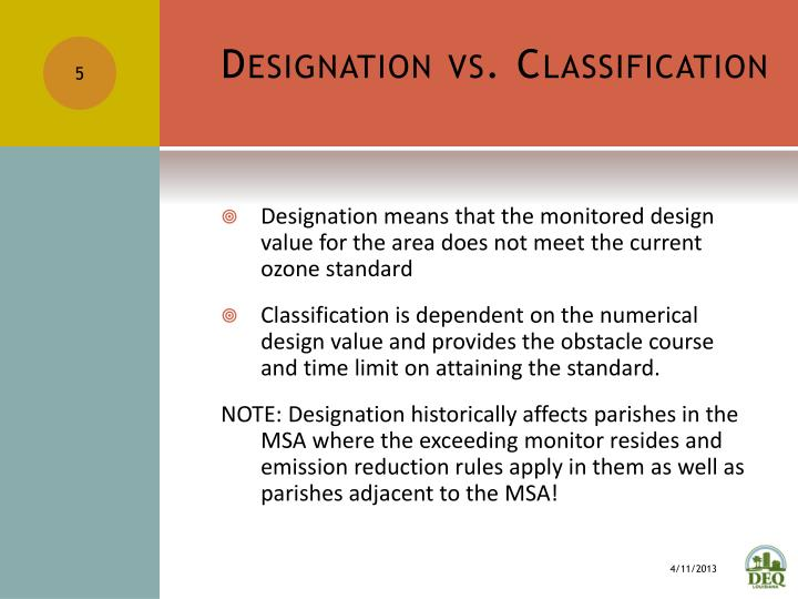 Designation vs. Classification