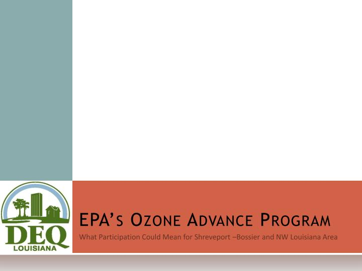 EPA's Ozone Advance Program
