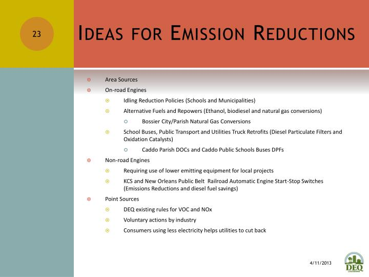 Ideas for Emission Reductions