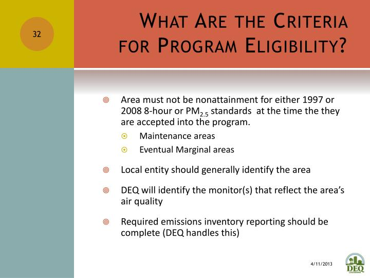 What Are the Criteria for Program Eligibility?